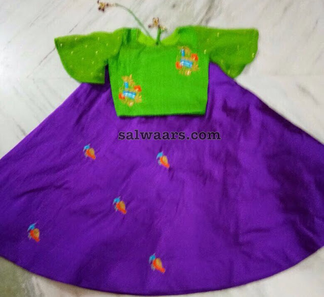 Purple Green Crop Top for Big Kids