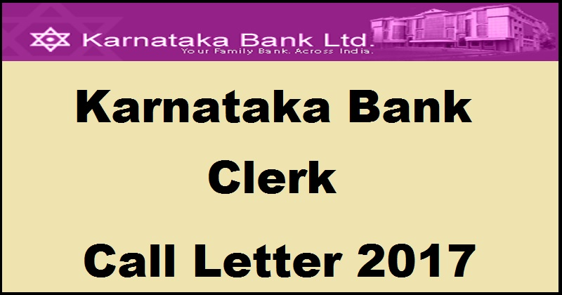 Karnataka Bank Clerk Admit card