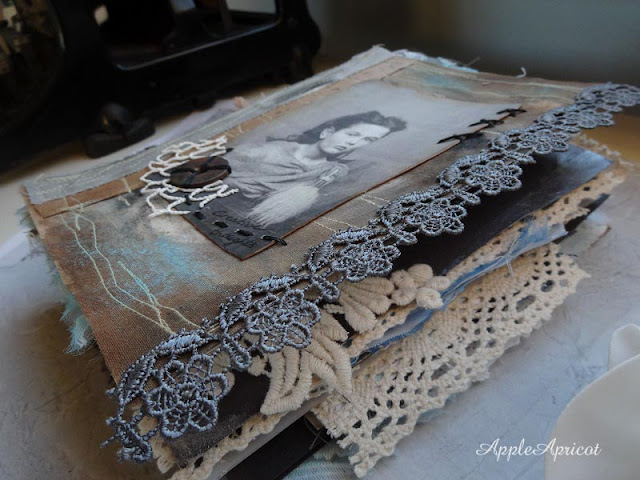 fabric and mixed media journal by AppleApricot