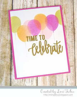 Time to Celebrate card-designed by Lori Tecler/Inking Aloud-stamps and stencil from Neat and Tangled
