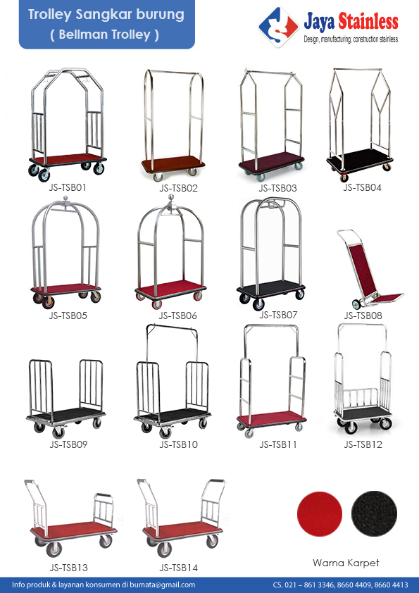 Beberapa model trolley sangkar burung / Lugagge cart / Bellman trolley