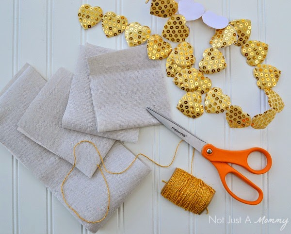 stitched Valentine treat bag supplies