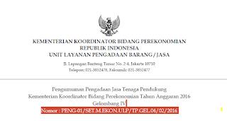 Lowongan Kerja Terbaru Kementerian Koordinator Bidang Perekonomian Republik Indonesia