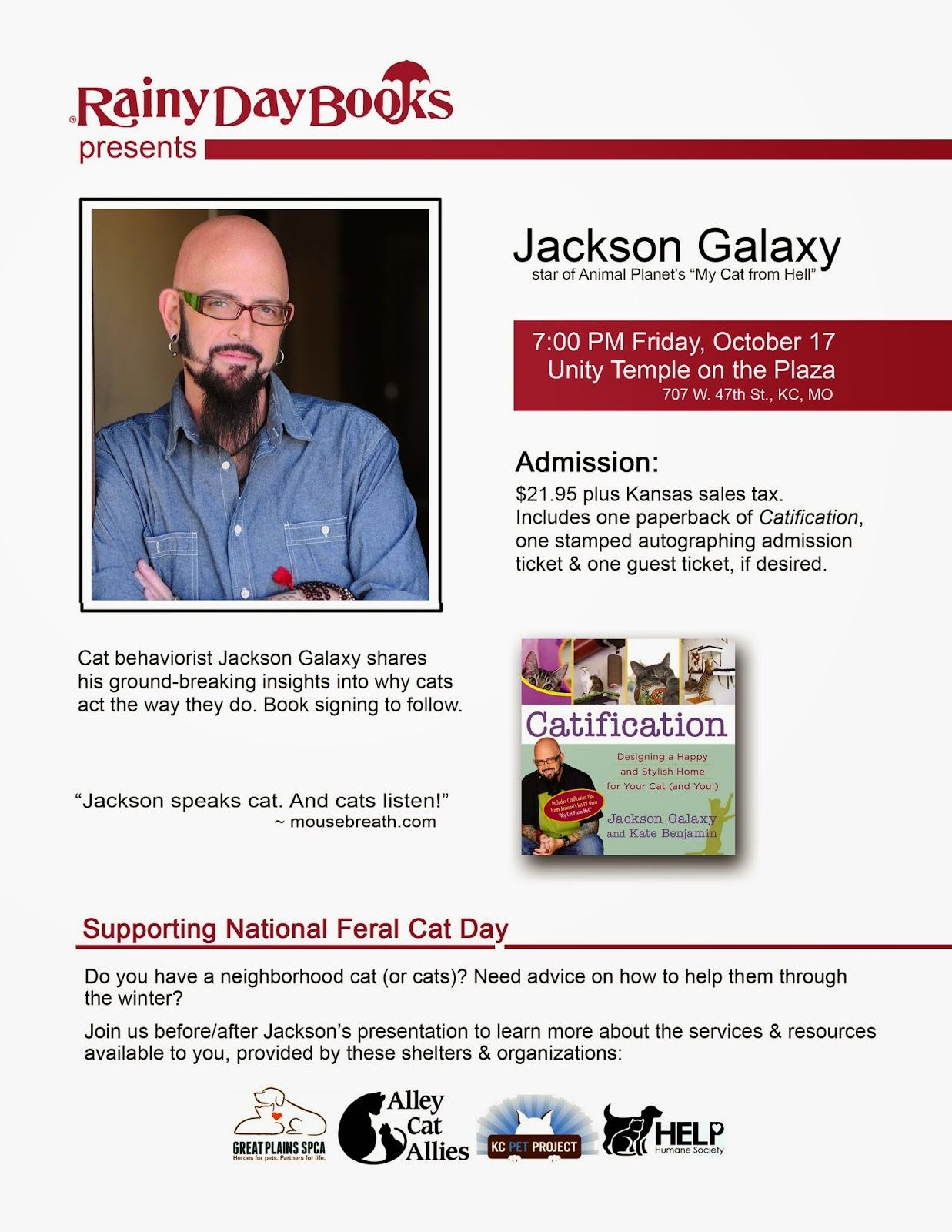 http://rainydaybooks.com/JacksonGalaxy