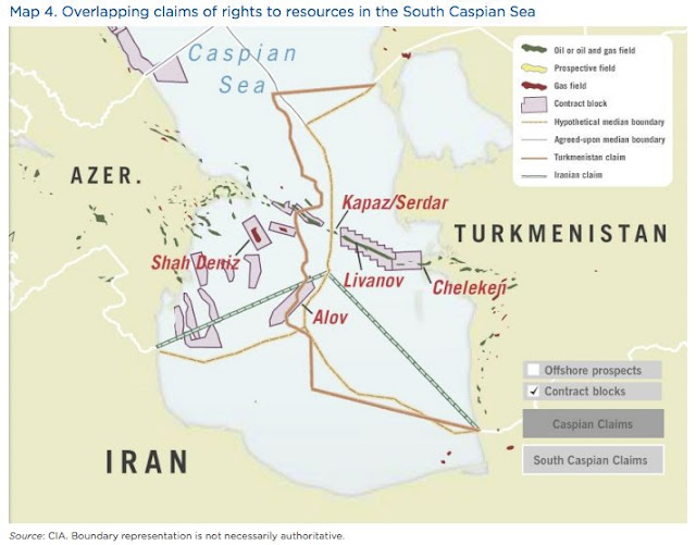 Map Attribute: MAP4: Overlapping claims of right to resources in the South Caspian Sea / Source: CIA