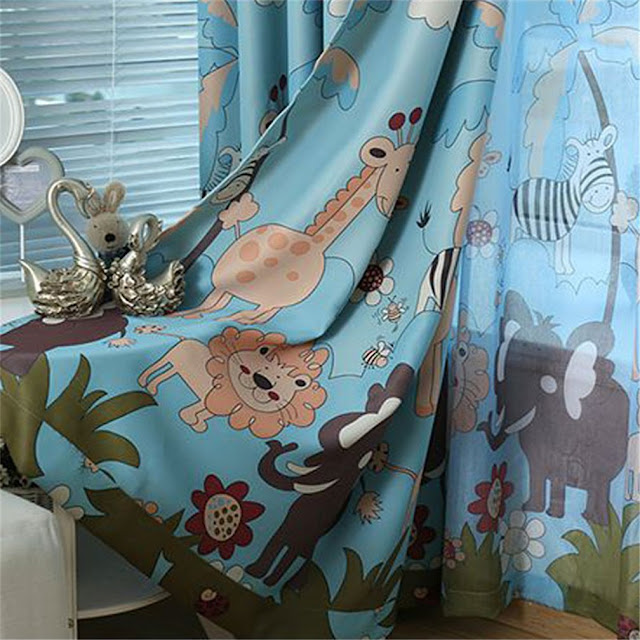 Colorful Curtains in Soothing Shades for baby's room: Jungle