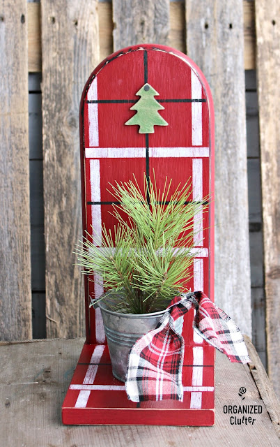 Paper Towel Holder to Christmas Shelf with Old Sign Stencils #plaidshirt