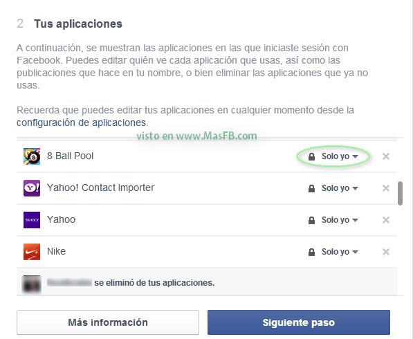 Privacidad Apps - Mas Facebook