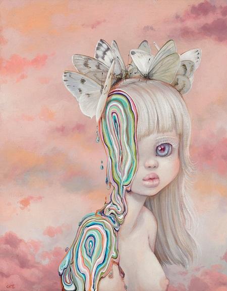 "Camilla d'Errico, ""Bianca"" - oil on wood panel | obras de arte pop contemporaneo, pinturas, surrealismo pop, art pictures inspiration | art selecta"