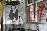 Warszawa, aranżacja baru, malarstwo ścienne barze, Mural Woody Allen