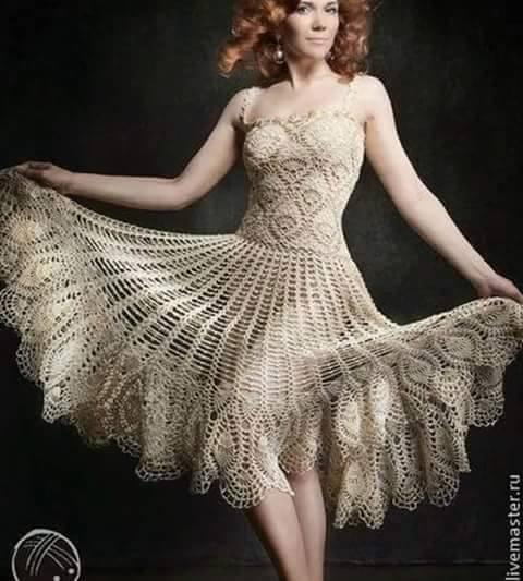 Patrón #852: Vestido a Crochet