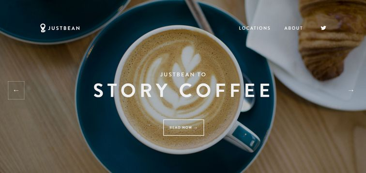 example of a full-screen responsive background image website-justbean