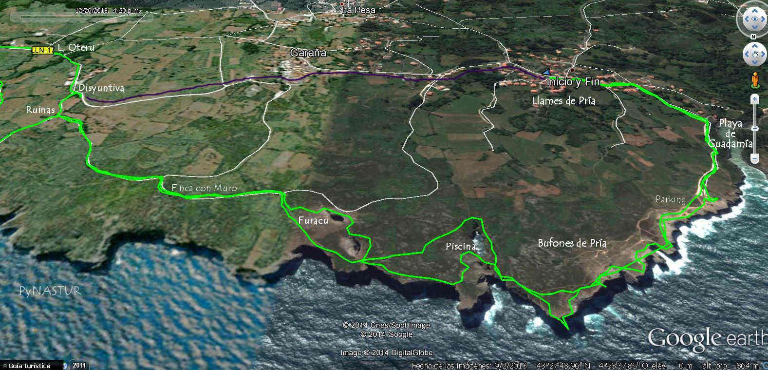 Mapa 2 - Senda Costera Bufones de Pría - Playa Cuevas del Mar - Llanes
