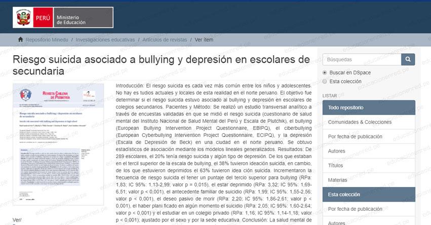 MINEDU: Riesgo suicida asociado a bullying y depresión en escolares de secundaria (.PDF) www.minedu.gob.pe