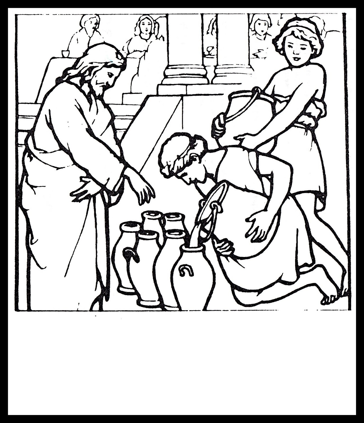 Christian images in my treasure box jesus turns water for Picture into coloring page