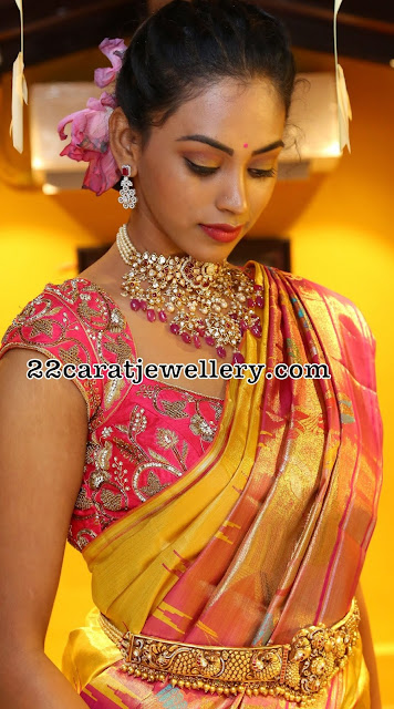 Kamakshi in Heavy Pachi Work Necklace