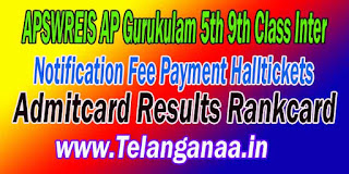 APSWREIS AP Gurukulam 5th 9th Class Inter Admission Notification Exam Dates Halltickets Results
