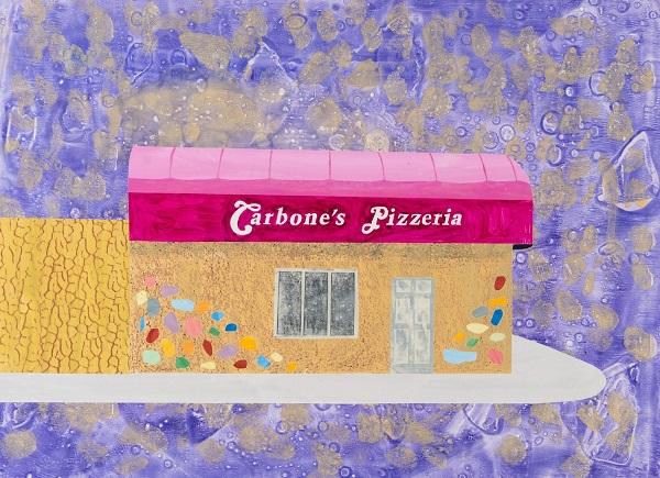 """Carbone's Pizzeria, St. Paul"" by Carolyn Swiszcz, 2017 - Watercolor monoprint | obra de arte pop, imagenes bonitas, bellas, hermosas."
