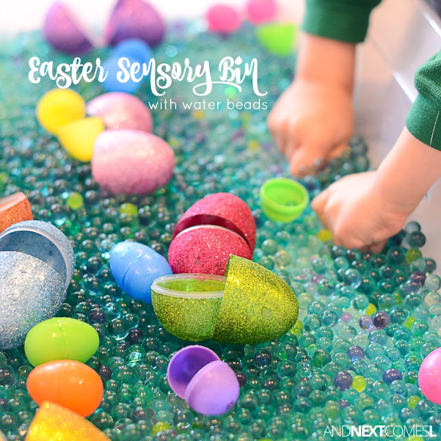 Easter sensory bin for kids using water beads & plastic eggs from And Next Comes L