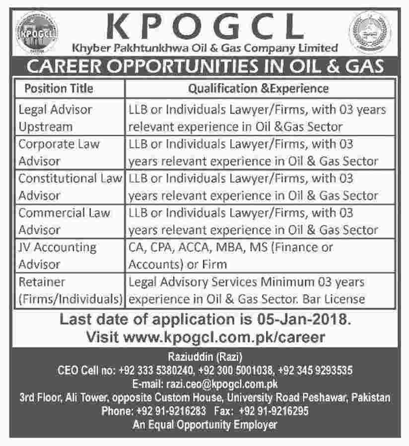 Kpogcl Jobs In Khyber Pakhtunkhwa Oil And Gas Company Dec 2017
