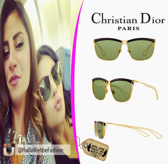 bde3be3b4d Haifa Wehbe Wearing Black and Gold Metal Wire Rectangle Sunglasses by  Christian Dior