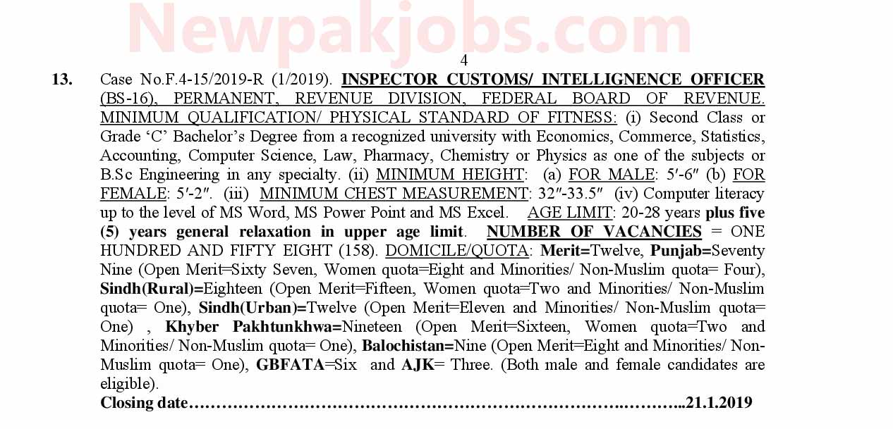 158 FPSC Customs Inspector FBR Jobs 2019
