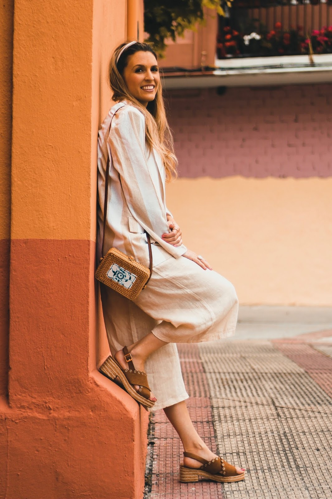 blazer de lino rayas