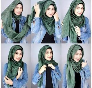 Tutorial hijab pashmina wajah bulat trendy