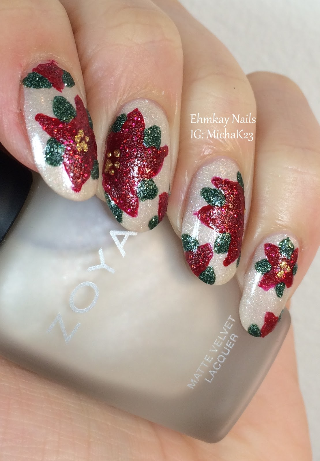 Christmas Nail Art French Manicure Red With White: Ehmkay Nails: Christmas Poinsettia Nail Art With Zoya Nail