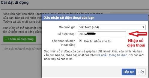 xác nhận, xác minh tài khoản Facebook