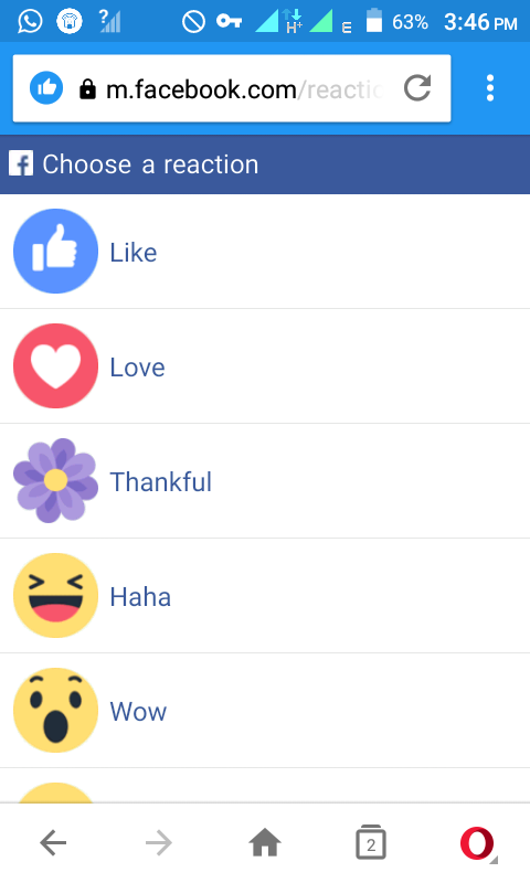 Facebook removes thankful reaction button