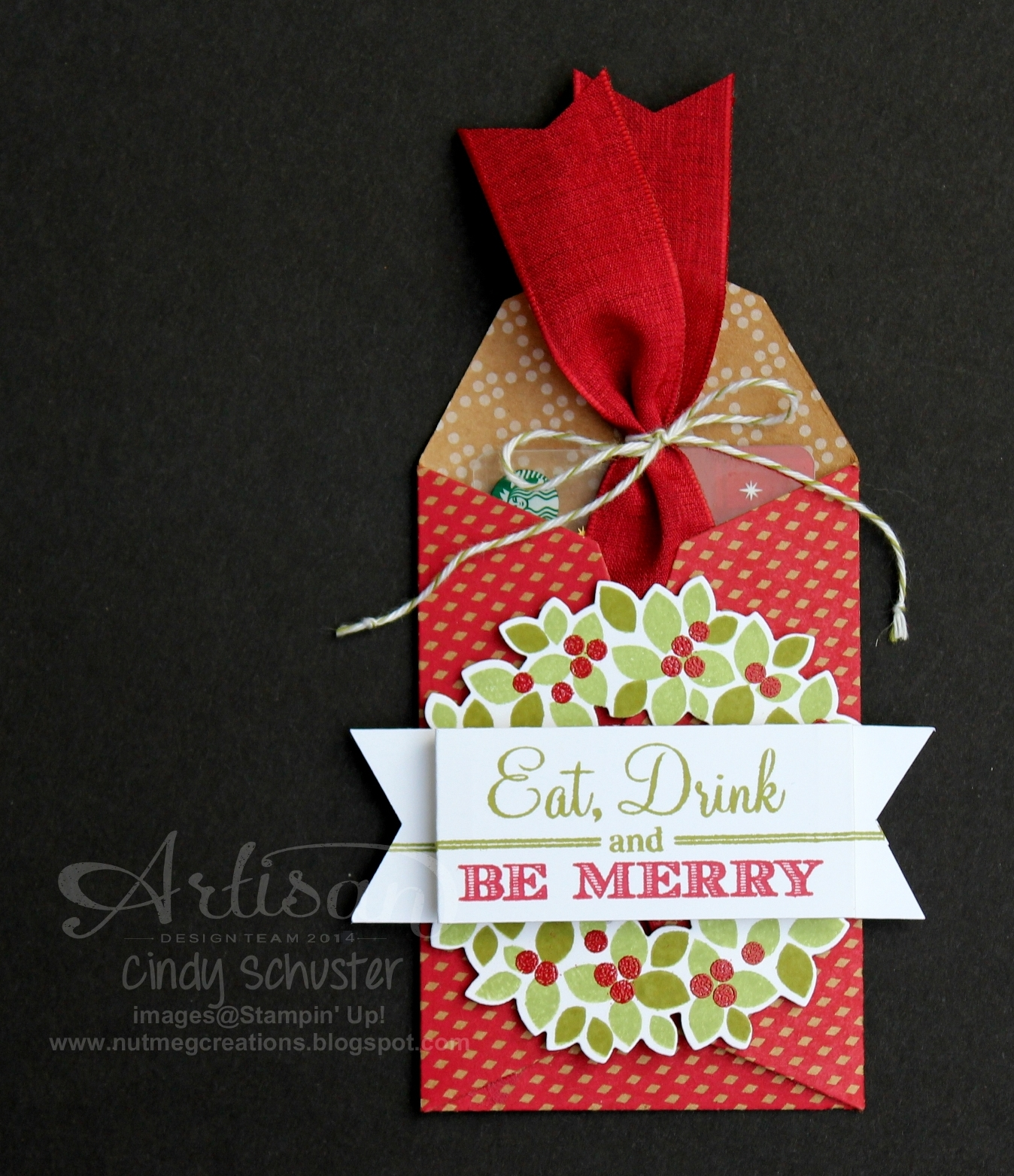 Nutmeg Creations Be Merry Gift Card Holder Stampin UP