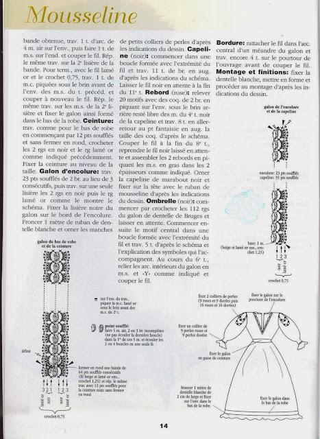 Vestido de Crochê Para Barbie Com Gráfico Mousseline - revista 1000 Mailles Robes de Poupées 5