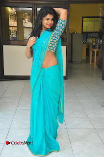 Telugu Actress Alekhya Stills in Green Saree at Swachh Hyderabad Cricket Press Meet  0108.JPG