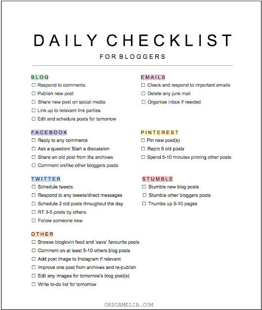 MY DAILY BLOGGING TASKS & FREE CHECKLIST
