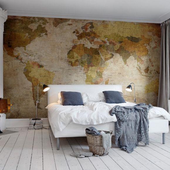 världskarta tapet gammal fototapet sovrumstapet