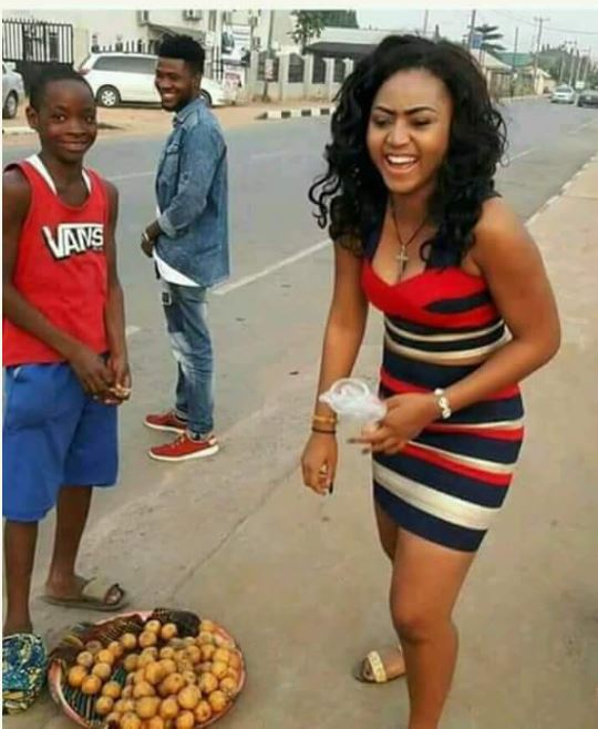 Read What This Young Boy Requested From Actress, Regina Daniel After Buying Cherry From Him