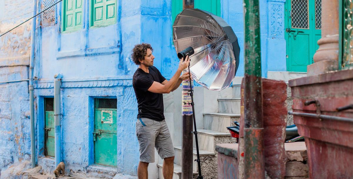 Использование Profoto B10 с зонтом