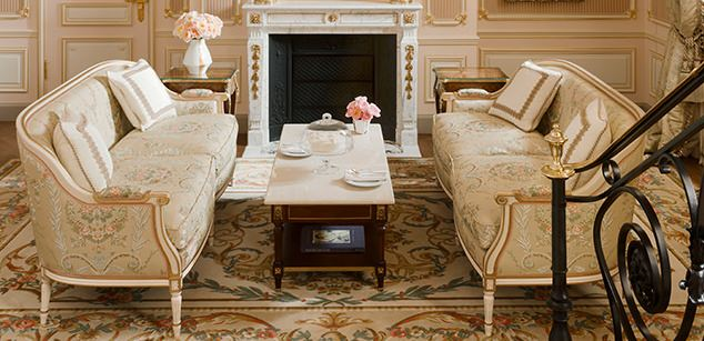 Two French sofas in breathtaking romantic suite in renovated Ritz Paris