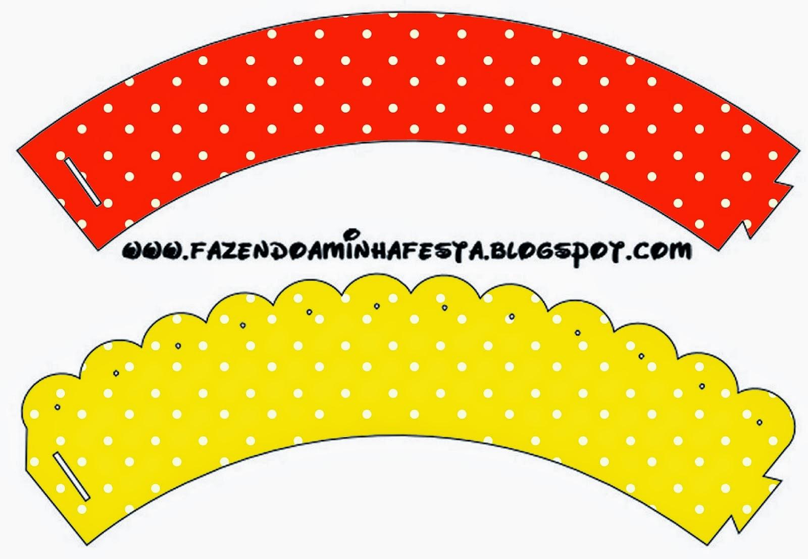 Wrappers para Cupcake para Imprimir Gratis de  Rojo, Amarillo y Lunares Blancos.