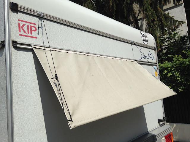 Kip Wohnwagen Fenster Sonnenschutz bauen Regenschutz Plane