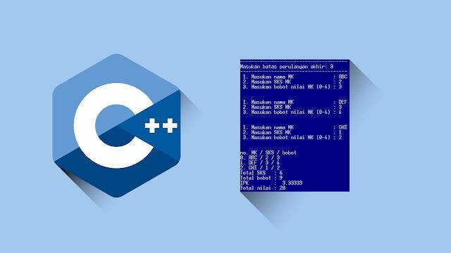 Contoh program C++ Perulangan, Menghitung SKS, Bobot, Nilai dan IPK