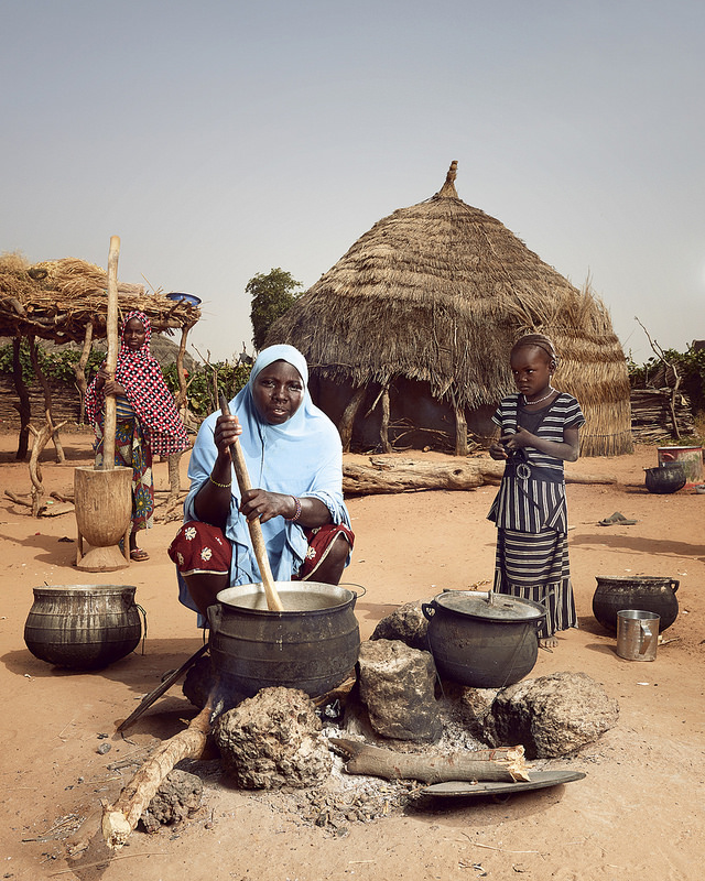 Cooking with wood in Niger Africa