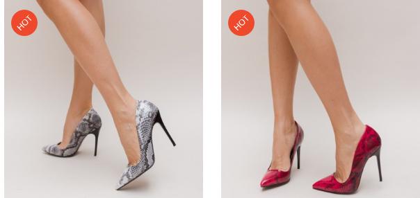 Pantofi Rosii, Albi cu model piele de sapre si toc inalt de evenimente