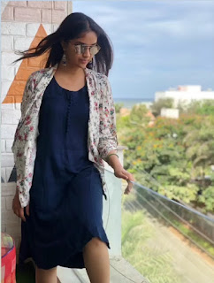 Keerthy Suresh in Blue Dress with Cute and Awesome Expressions