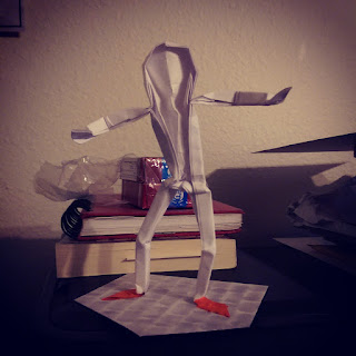 Hip Hop Dancing Folded Paper Man by Patrick Valdez