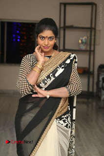 Telugu Actress Jayavani Jayavani Stills in Black Saree at Intlo Deyyam Nakem Bhayam Success Meet  0029.JPG