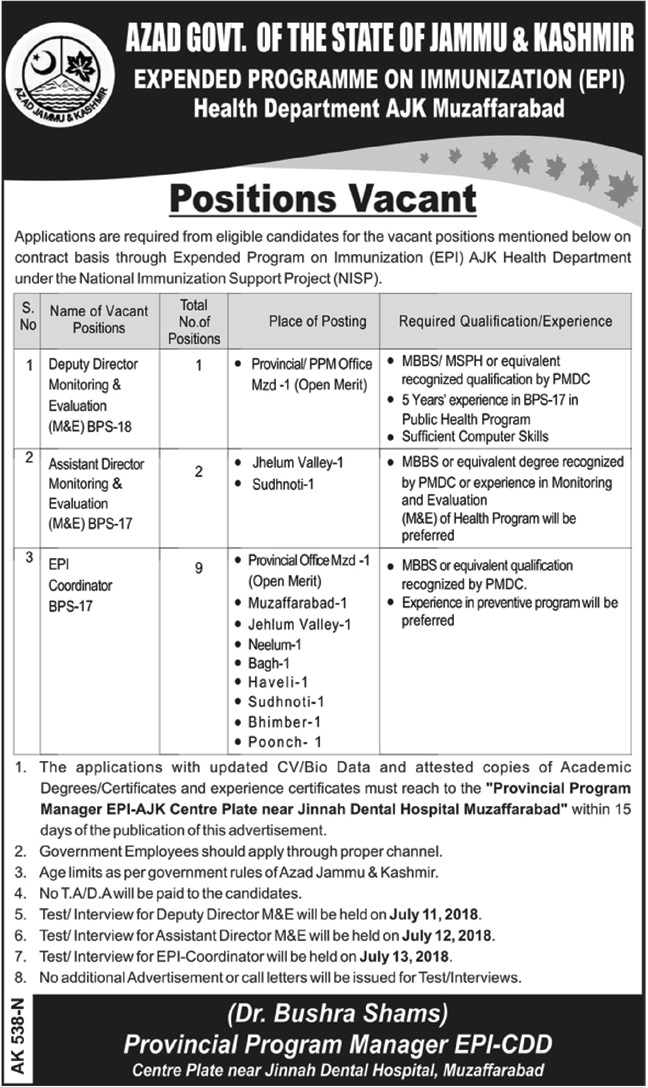 MBBS Jobs Health Department Azad Jammu Kashmir AJK