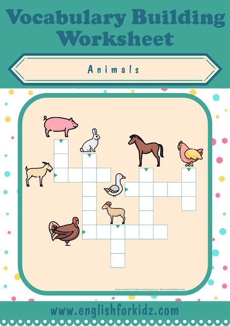 Farm animals crossword puzzle - printable ESL worksheets