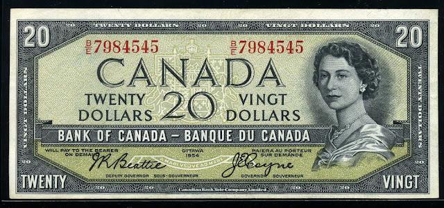 Canadian Currency banknotes dollars, Queen Elizabeth